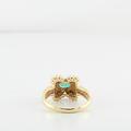 Oval Emerald & Diamond Ripple 14K Yellow Gold XOXO Ring Size 6.5 LOT1777