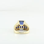 Fashion Blue Princes Cut Sappire & Diamond 14K Yellow Gold Cocktail Party Ring