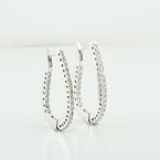 Exquisite Half Carat Diamond Hoop 14K White Gold Ladies Earrings Jewelry