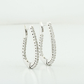 Exquisite Half Carat Diamond Hoop 14K White Gold Ladies Earrings Jewelry