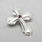 Bill Wall Leather 925 Silver Red Spinel Gemstone Cross Charm Pendant - 48mm long