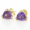 Estate Ladies 14K Yellow Gold Amethyst Trilliant Cut 0.80CTW Push Back Earrings