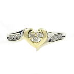 Estate Ladies 10K White Yellow Heart Diamond 0.25CTW Promise Ring