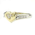 Estate Ladies 10K White Yellow Heart Diamond 0.25CTW Promise Ring