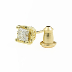 Classic Estate 10K Yellow Gold Beautiful Diamond Ruby Single Stud Earring