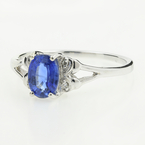Estate Ladies 14K White Gold Blue Topaz Diamond Cocktail Right Hand Ring