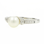 Estate 14k White Gold Cultured Pearl Diamond 0.25CTW Right Hand Ring