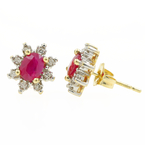 Vintage Estate 10K Yellow Diamond Ruby 1.25CTW Rosita Stud Push Back Earrings
