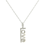 "Classic Estate Ladies 14K White Gold Diamond ""Love"" Pendant 18 Inch Necklace"