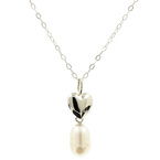 "Estate Ladies 14K White Gold Heart Rice Peal Pendant 20"" Link Chain Necklace"