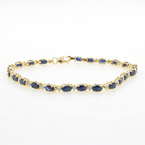 Estate Ladies 14K Yellow Gold London Blue Topaz 5.28CTW Tennis Bracelet