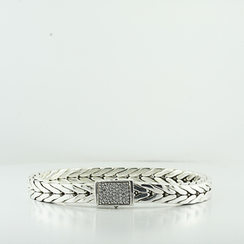 John Hardy 925 Sterling Silver Classic Diamond Square Woven Men's 7.5in Bracelet
