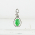 Natural Green Jade 1.39 Carat Cabochon Eternity 18K White Gold & Diamond Pendent