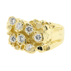 Antique Estate Handsome Men's 14K Yellow Gold Cubic Zirconia Nugget Ring Size  8.75