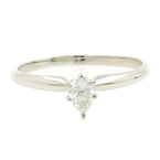 Classic Estate Ladies 14K White Gold Pear Cut Diamond Solitaire Engagement Ring