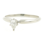Classic Estate Ladies 14K White Gold Pear Cut Diamond Solitaire Engagement Ring