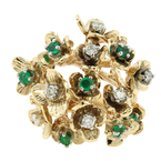 Ladies Vintage Estate 14K Yellow Gold Diamond & Emerald Floral Branch Motif Ring