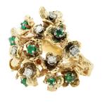 Vintage Estate 14K Yellow Gold Diamond Emerald Floral Branch Motif Cluster Ring