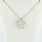 Modern 14K White Gold Diamond Flower Pendant & Rolo Cable Chain Necklace Set