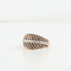 Modern Design Rose Gold & Diamond Leaf Ladies Filigree Size 6 Jewelry Ring