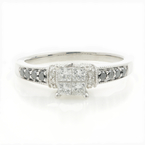 Vintage 10K White Gold Ladies Princess Cut Diamond Engagement Ring - 0.72CTW