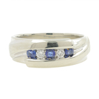 Estate Ladies 14K White Gold Blue Topaz Diamond Anniversary Right Hand Ring Band