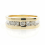 Stunning Estate 10K Yellow & White Gold Diamond 0.50CTW Mens Ring Band Size 5.7