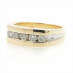 Estate 10K Yellow & White Gold Diamond 0.50CTW Men's Ring Band Size 5.75
