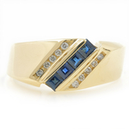 Estate Ladies 14K Yellow Gold Blue Topaz Diamond Anniversary Right Hand Ring Band