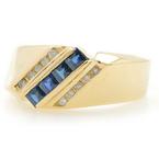 Estate Ladies 14K Yellow Gold Blue Topaz Diamond Anniversary Right Hand Ring Band