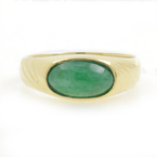 Vintage Estate 18K Yellow Gold Bezel Set Jade Cabochon Right Hand Ring