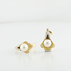 Fresh Water Lustrous Pearl & Diamond Ring Charm Set 14K Yellow European Design