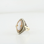 Elegant Marques Shaped Cameo Yellow & Rose Gold Right Hand Vintage Ring