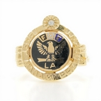 Estate 10K Yellow Gold Diamond Enamel Fraternal Order of Eagles FOE Ring Size 6