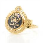 Estate 10K Yellow Gold Diamond Enamel Fraternal Order Eagles FOE Ring - Size 6