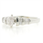 Estate PT950 Platinum Ladies Marquise Diamond Engagement Wedding Ring -  0.33CTW