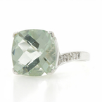 Estate Ladies 14K White Gold Pale Green Quartz Diamond Right Hand Cocktail Ring