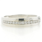 Vintage 14K White Gold Men's Brilliant Diamond Wedding Anniversary Ring -0.36CTW