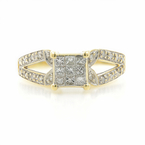Estate Ladies 14K Yellow Gold Diamond 2.42CTW Princess Cut Engagement Ring