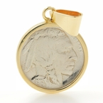 Rare Vintage Estate 10K Yellow Gold Bezel Pendant 1915 Buffalo Nickel Coin