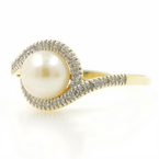 Classic Ladies 10K Yellow Gold Cultured Pearl Diamond Bypass Right Hand Ring