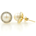 Vintage Estate 10K Yellow Gold Cultured Pearl & Diamond Push Back Earrings