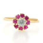Vintage Estate 18K Yellow Gold Red Spinel Ziconia Rosita Cluster Ladies Ring