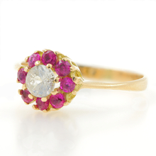 Vintage Estate Ladies 18K Yellow Gold Red Spinel Ziconia  Rosita Cluster Right Hand Ring