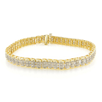 "Estate Ladies 10K Yellow Gold Round Cut Diamond 7 1/2"" Tennis Bracelet 2.00CTW"