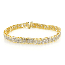 "Estate Ladies 10K Yellow Gold Round Cut Diamond 2.00CTW Tennis 7 1/2 "" Bracelet"
