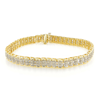 "Ladies Estate 10K Yellow Gold Round Cut Diamond 7 1/2"" Tennis Bracelet - 2.00CTW"