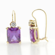 Estate Modern 14K Yellow Gold Purple Sapphire Drop Kidney Back Earrings