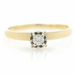 Classic Estate Ladies 14K Yellow Gold Diamond Solitaire Engagement Ring - 0.10CTW