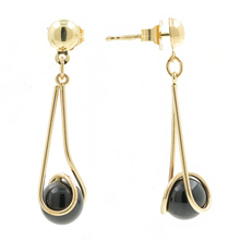 Modern 14K Yellow Gold Chandelier Black Bead Push Back Earrings
